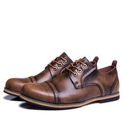 Calzado de vaquero online-Tamaño grande de los hombres botas de cuero genuino moda Vintage otoño vaquero Martine botines para hombre calzado plano 38-47 Dropship