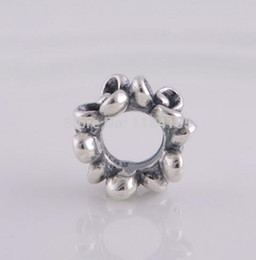 Wholesale screw core silver - Clover flower 925 sterling silver screw core spacer ring charm beads DIY jewelry, compatible Pandora style bracelet