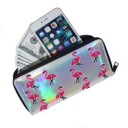 Wholesale Vintage Animal Photos - Womens Long Wallets And Pures Zipper PU Leather Laser Flamingo Embroidered Lady Clutch Purse Cell Phone Credit Card Women Wallet