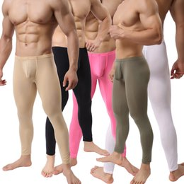 Wholesale tight sexy underwear - Sexy Mens Slim Tight Long Johns Pants Smooth Stretchy Underwear Trousers Multi Color Gym Sports Long Pants