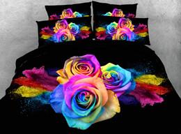 3d листы роз Скидка 4/6pcs JF336 Colorful roses bedding sets king  HD Digital rose duvet cover Queen 3d bed sheet set Single Double Full linen