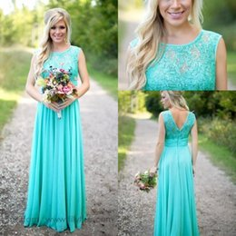 Wholesale plus size yellow wedding dresses - High Quality Turquoise Bridesmaid Dresses A Line Sheer Jewel Neck Sleeveless Long Maid of Honor Gowns Plus Size Wedding Guest Dress