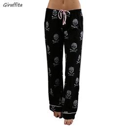626e79d340a3e Fashion Women Pants Casual Low Waist Flare Wide Leg Long Pants Palazzo  Trousers Skull Printed Pajama At Home