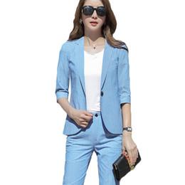 62d8b61d3ff5 Women office clothes 2 piece sets 2018 summer fashion temperament suit  pants women business suits female professional small suit