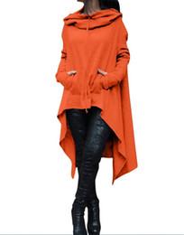 Новая мода S-5XL женщины плюс размер негабаритных мода свободные балахон платье длинный джемпер с капюшоном топы повседневная толстовка свитер асимметричные толстовки от Поставщики зимние платья из шерстяной вышивки