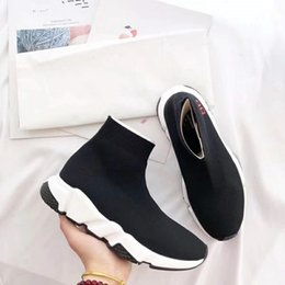 Wholesale Cleaning Socks - In Spring And Summer Sock Shoes High Top Casual Walking Shoes Men Women CLYDE SOCK x AW Run Clean pure black sneakers 35-45