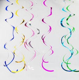 Wholesale pvc christmas decorations - 90cm PVC Sparkling Streamers Party Scene Layout Spiral Ornaments For Wedding Birthday Decorations Ceiling Hanging Foil Swirls Banner 2 5bd B