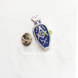 2019 albañil 10pcs Masonic Lady Blue Slipper Pins Broche Freemason Influencia protectora de masones Esposas Viudas Zapatillas de solapa Pin insignia albañil baratos
