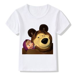 bear cartoon t shirts Coupons - 2017 3d Children Masha And The Bear Print T -Shirts Kids Summer Tops Girls Boys Short Sleeve T Shirt Cartoon Baby Clothes ,Hkp2100