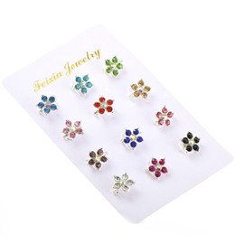flower brooch mix Promo Codes - Muslim Hijab Pins Brooches 12PCS Beautiful Flower Crystal Rhinestone Brooches Safety Scarf Pins Mixed Color
