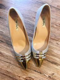 tacones de boda de plata talla 12 Rebajas Envío gratis foto real de cuero genuino de Plata Glitter Point punta de la señora zapatos de tacón alto bomba de tamaño 33-43 12 cm 10 cm zapatos de novia de la boda