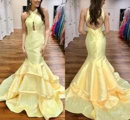 Wholesale Simple Blue Taffeta Dresses - Light Yellow Mermaid Prom Dresses Halter Tiered Taffeta Backless Long Prom Dresses Simple Sexy Evening Dresses Sweep Train
