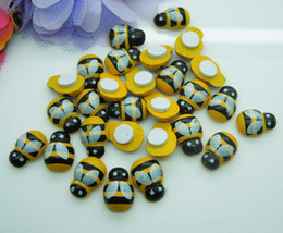 Wholesale wall art wooden - 100pcs 13mm Wooden Yellow Animal Bee Stickers Fridge 3D Adhesive Art Wall Sponge Sticker Room Garden Decoration DDA517