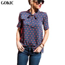 Wholesale Blouse Lips - GOKIC 2017 New Summer Style Fashion Women's Sexy Lip print Black Chiffon Blouse Shirt Female Cute Bow Casual Chiffon Shirts