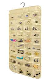 Wholesale wall display holders - 80 Pockets Jewelry Hanging Organizer Earrings Necklace Jewelry Display Holder Dual Sided Jewellery Storage Bag Display Pouch