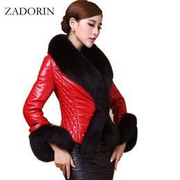 Wholesale Fur Coat Leather Belt - New Autumn Winter Women Faux Leather Jacket With Fur Collar Luxury Faux Fur Coats Jackets Short Embroidery Black Leather jacket