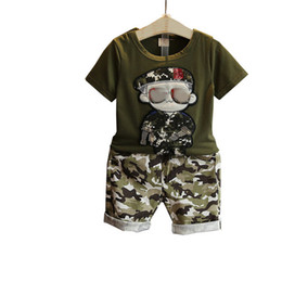 2020 camouflage t shirt garçons Été Enfants Garçon Vêtements 2017 nouveaux Ensembles Enfants 2pcs T-Shirt Manches Courtes Toddler Suits Camouflage Shorts Enfant Vêtements Suits nhgngvh ['] promotion camouflage t shirt garçons
