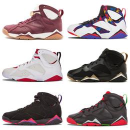 Zapatos de baloncesto n7 online-Barato 7 Zapatos de baloncesto retro Hombres Mujeres 7s VII Púrpura UNC Burdeos Panton Olímpico Dinero puro Nada Raptor N7 Zapatos Trainer Zapato deportivo