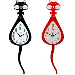 Wholesale Wall Clocks Wholesalers - 3D Cat Wall Clocks Tail Shaker Mute key Hang Timepiece Clock For Living Room Single Surface HH7-480