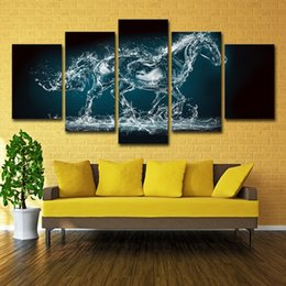 landscape photo painting hd Promo Codes - Abstract Painting Wall Pictures Home Decor Photo 5 Panel Animal Water Horse Landscape HD Print Modern Canvas Poster