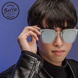 98396e4355 Sella Fashion Korean Style Oversized Women Men Square Mirror Lens Sunglasses  Popular Transparent Frame Film Coating Sun Glasses