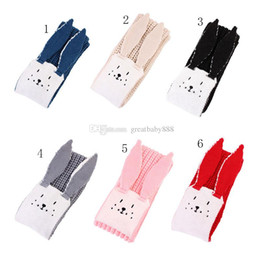 Sciarpa di coniglio lavorata a maglia online-Bambini Sciarpe orecchie coniglio Sciarpa maglia 3D coniglio 2018 INS Sciarpe coniglio caldo inverno fumetto 100-135 cm C3425