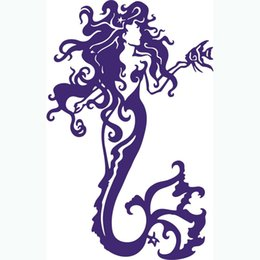wall stickers mermaids Coupons - Sexy Purple Color Mermaid Figure Poster Wall Stickers Dreamy Fish Kiss Sea-maiden Modern Wall Art Vinyl Living Room Home Decor