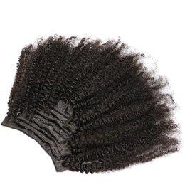Cabello humano natural piezas afro online-Afro Kinky Clip rizado en extensiones de cabello humano 100% brasileño Remy humano 8 piezas 120g / Set color natural