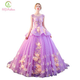 Wholesale High End Prom Gowns - SSYFashion High-end Luxury Colorful Prom Dress The Banquet Sweet Light Purple Flower Appliques Long Party Formal Gown Custom