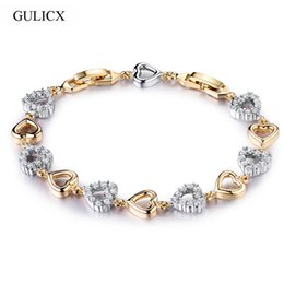 diseño de pulsera de oro nupcial Rebajas racelets for GULICX Famous Heart Design Brand Diamante Jewelry Gold Filled Cubic Zirconia simulado Crystal Bridal Wedding Bracelet For W ...