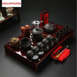 CJ185 Chinesische Kung Fu Tee-Set Drinkware Lila Ton Keramik Binglie drei Optionen gehören Teekanne Cup Terrine Infuser TeaTray von Fabrikanten