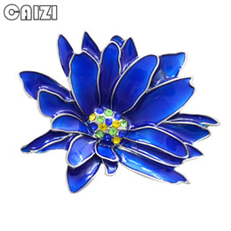 CAIZI 2018 New Rhinestone Flower Brooch Pin for Women Blue Crystal  Chrysanthemum Brooch Wedding Jewelry Clothes Accessories f30a90790d27