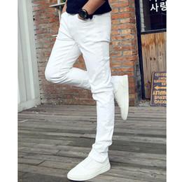 2019 leggings jeunesse Été Casual Jeunesse Entreprise Blanc Stretch Jeans Pantalons Mâle Adolescents Pantalons Jeans skinny Hommes En Gros Leggings leggings jeunesse pas cher