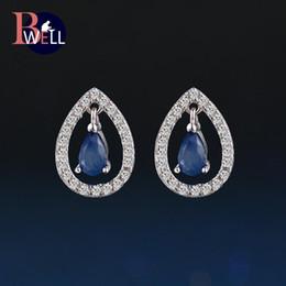 2019 натуральный белый сапфир Bwell Teardrop Natural Gemstone Sapphire Stud Earrings 925 Sterling Silver White Gold Fine Jewelry For Women Wedding BWEI054 скидка натуральный белый сапфир