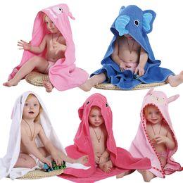 Wholesale Patterned Bath Towels - 2017 baby Kids Robes 5 colors Spring Animal Towels Toddler Cartoon Pattern Bath Towel Swaddle Blanket