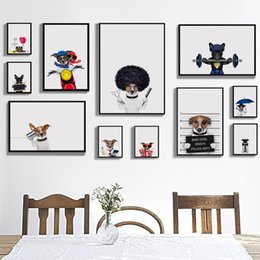 Wholesale Pictures Cartoon Dogs - Bianche Wall Modern Fashion Dog Pet Dog Fashion Dress Canvas Painting Art Print Poster Picture Wall Restaurant Kitchen Decor