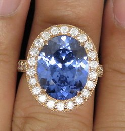 Wholesale Natural Blue Tanzanite - SOLID 14K ROSE GOLD NATURAL VIOLET BLUE TANZANITE ENGAGEMENT DIAMOND RING