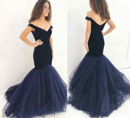 Wholesale Trumpet Charms - Navy Blue Velvet 2018 Prom Dresses Mermaid Charming Formal Evening Gowns Off The Shoulder Tulle Party Gowns