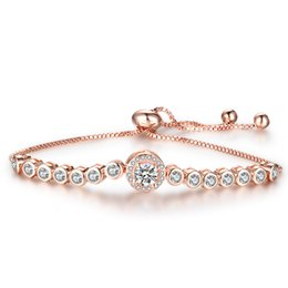 Wholesale Womens White Gold Chain Bracelet - Adjustable Bracelet For Women Round Cubic Zirconia Charm Love Bracelets Rose Gold Color Womens Blacelets Bangles