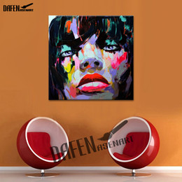 Olio africano online-African Girl Palette Knife Figura Pittura dipinta a mano olio su tela Wall Art Home Decor