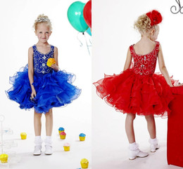 Wholesale Lovely Baby Model - Lovely Baby Girls Pageant Dresses Off Shoulder Beaded Rhinestone Toddler Party Gowns Tiered Short Flower Girls Dress
