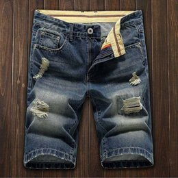 Wholesale destroyed jeans shorts - New Style Mens Short Denim Jean Pants Casual Summer Destroyed Jeans Trousers Thigh Ripped Holes Shorts For Men Street Wear