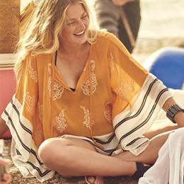 Wholesale Chiffon Tunic Beach Cover Ups - Sexy Chiffon Swimsuit cover up Beachwear Loose V-neck Bathing suit Cover ups 2018 Summer Bikini cover up Beach Tunic Pareo