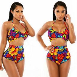 Bikini bello online-Costume da bagno bikini a fascia stampato colorato a due pezzi Bikini Lady Beach Costume da bagno diviso Costume da bagno donna brasiliana