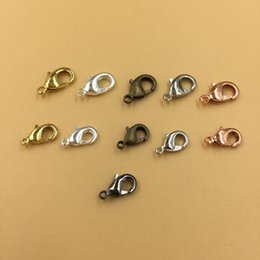 Wholesale Hook End Clasp - 500pcs Lot 10 12mm Lobster Clasp Hooks For Necklace Findings Metal Alloy End Clasps Connectors For Jewelry Making 6 Colors
