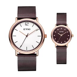 Wholesale Japan Watches For Women - New Arrival 2018 EYKI Stainless Steel Lovers Clock Luminous Hands Wristwatches for Men Women Luxury Japan Movement Quartz Watches Saat
