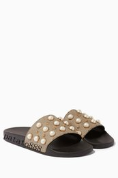 Wholesale Pearl Flat Sandals - 2018 mens and womens fashion pearl-embellished rubber slide sandals summer outdoor beach flat flip flops adults slippers