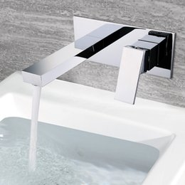 Wholesale Ceramic Art Basin - Wall Mounted Bathroom Faucet Chrome 2 holes Hold and Cold Water Mixer Concealed Tap Art Brass Basin Faucet