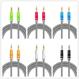 Wholesale iphone cord for car - aux cable Stainless Steel Stereo 1m 3ft alloy car audio aux cables cable cord line for iphone mp3 mp4 pc headphone speaker