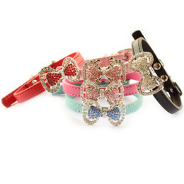 Wholesale Bow Store - Armi store Fashion Rhinestone Bow Dog Collar Dogs Cat Princess Collars 6041012 Pet Leashes Accessories
